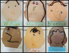 Preschool Self Portraits with Yarn Hair