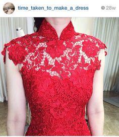 Red prada lace Diy Dress, Lace Dress, Dress Brokat, Wedding Dress Patterns, Batik Dress, Chinese Clothing, Ao Dai, Ethnic Fashion, Dance Dresses
