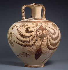 """purplefigtree: """" Stirrup jar with octopus, ca. Late Helladic IIIC Mycenaean Terracotta """" A large, wide-eyed octopus stretches its tentacles across the curved body of this vessel. Flecks of paint and thin, arching lines denote the. Art Antique, Antique Pottery, Pottery Art, World History Facts, Art History, Kraken, Minoan Art, Mycenaean, Greek Pottery"""