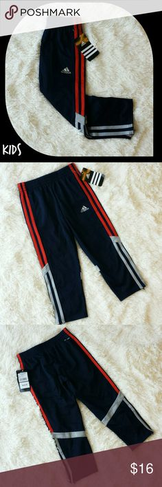 """{Adidas} ⬇ Children's Pant w/ Signtaure Stripes NEW WITH TAGS!  Perfect for your active toddler.... run around in style without worry in these Adidas pants complete with signature stripes.  These are """"climalite"""" so your kids stay dry and comfortable by claiming to draw sweat away from the skin.  Side pockets and side zippers.  Taking offers! Adidas Bottoms Sweatpants & Joggers"""