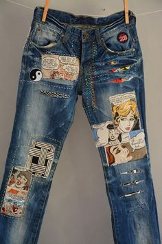 All SIZES High Waist Destroyed Boyfriend Jeans Distressed and Totally Patched Jeans Womens size 6 High Waisted Mom Jeans// all sizes by MyQueensWish on Etsy - High Waisted Jeans - Ideas of High Waisted Jeans Vintage Jeans, Jean Vintage, Diy Jeans, Women's Jeans, Jeans Refashion, Jeans Size, Ripped Skinny Jeans, Cropped Jeans, Patches Vintage