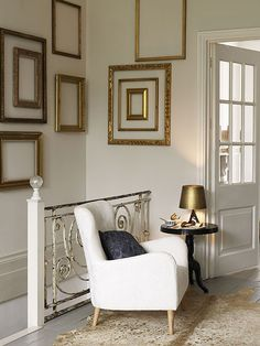 LOVE this wall of gilded frames...