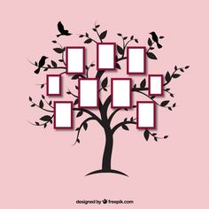 Linda árvore plana com molduras Vetor grátis Pink Glitter Background, Flower Background Wallpaper, Butterfly Wallpaper, Flower Backgrounds, Family Tree Photo, Family Tree Frame, Photo Tree, Mind Map Art, Creative Mind Map