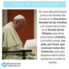 El Papa Francisco pide oraciones por el Encuentro Mundial de las Familias (Filadelfia, EE.UU.) y por el Sínodo de la Familia. ¡Compártelo para que sume mucha gente!