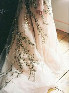 Blush Ball Gown Embroidered with Sparkling Vines | Jen Huang Photography | Enchanting Autumn Woods Wedding Inspiration in Persimmon and Peach