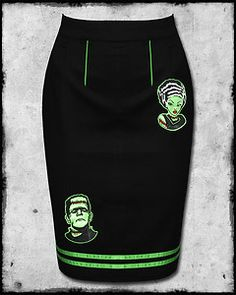 BANNED BLACK GREEN FRANKENSTEIN PSYCHOBILLY ROCKABILLY HORROR PUNK PENCIL SKIRT | eBay