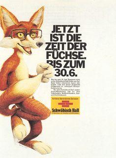 Schwäbisch Hall #fuchs #Bausparfuchs #bausparkasse #fox #print #ad #advertisement #Germany #SchwabischHall Pin Up Illustration, Cartoon Characters, Fictional Characters, Furry Art, Tigger, Cartoons, Fox, Advertising, Fan Art
