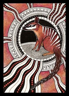 Numbat as Totem Probably one of my personal favourites to date. The write-up on numbat as totem animal / animal guide can be found here (along with the . Numbat as Totem Aboriginal Art Animals, Aboriginal Dot Painting, Dot Art Painting, Encaustic Painting, Australian Animals, Australian Art, Aboriginal Tattoo, Illustrations, Illustration Art