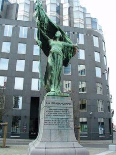 La Brabançonne, national anthem of Belgium, statue-sculpture in Brussels