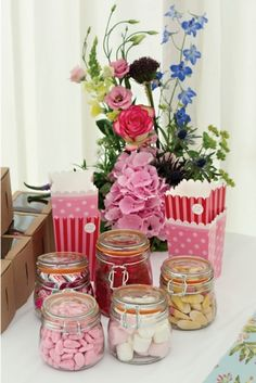 Sweetie buffet idea with jars and treat boxes; buy them here http://www.weddingmall.co.uk/candy-bar/sweet-bags/popcorn-mixed-treat-boxes/p187493.html