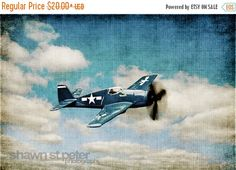 FLASH SALE til MIDNIGHT Vintage Wwii Prop Plane Blue Fighter Blue Sky, Photo Print, Boys Room, Boys Nursery Decor, Airplane Prints, Art deco