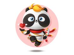 PandaEarth - Panda - My name is Hua Rong designed by PandaEarth. Connect with them on Dribbble; 3d Character, Character Design, Shiva Meditation, Mascot Design, Cute Panda, My Name Is, Show And Tell, Cartoon, Disney Characters