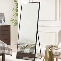 Shop Large Rectangle Thin Framed Full-Length Mirror Floor Mirror with stand - - On Sale - Overstock - 30328546 - White Full Body Mirror, Long Mirror, Tall Mirror, Mirror On Stand, Long Standing Mirror, Giant Mirror, Leaning Mirror, Large Mirrors, Home Decor Ideas