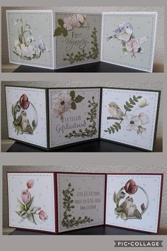 Tri Fold Cards, Fancy Fold Cards, Chrismas Cards, Shaped Cards, Marianne Design, Card Tutorials, Pretty Cards, Cool Cards, Flower Cards