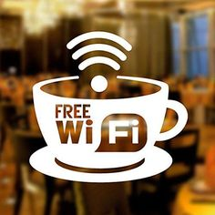 Free WIFI Cup Window Sign Vinyl Sticker Graphics Cafe Shop Salon Bar Restaurant in Business, Office & Industrial, Retail & Shop Fitting, Advertising/ Shop Signs Cozy Coffee Shop, Coffee Shop Design, My Coffee, Coffee Shops, Deco Cafe, Mein Café, Cafe Window, Bar Restaurant, Window Signs