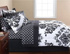 Black & White Damask Queen Comforter & Sheet Set (8 Piece Bed In A Bag) Modern Living http://www.amazon.com/dp/B00CIAU0C8/ref=cm_sw_r_pi_dp_u.CYtb0VW83MH2QS