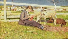 A Girl Knitting, 1888 (oil on canvas) by Segantini, Giovanni (1858-99)