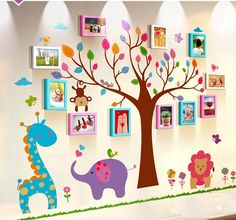 Animal Family And Tree Wall Sticker