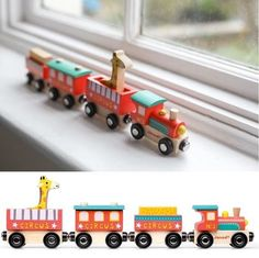 Kids Wooden Train Set Wood Locomotive Cars With Animal Toddler Children Play Toy #KidsWoodenTrainSet