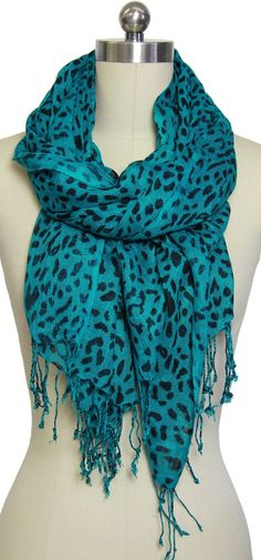 Leopard Print Teal Scarf I think I need this. Can I have it??