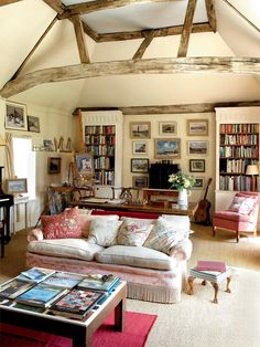 Restored 17th century home in England. I ♥ all the bookcases and books throughout!