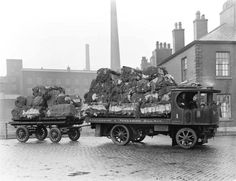 Lancashire & Yorkshire Railway Sentinel steam-powered truck No 1, loaded up with cotton waste, England, March 20 1919.