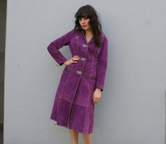 Grape Purple vintage 70s Suede Trench Jacket from Lucky Vintage
