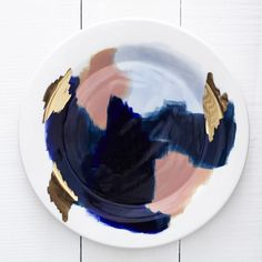 Best Ceramics Tips : – Picture : – Description Canyon Series: Glacier Hand Painted Porcelain Dinner Plate with Gold Luster by redravenstudios on Etsy -Read More – Ceramic Plates, Ceramic Pottery, Ceramic Art, Clay Plates, Coral Pantone, Red Raven, Cerámica Ideas, The Design Files, Plates And Bowls