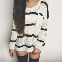 black, fashion, look, outfit, style, sweater, white, мода, стиль, свитер, лук