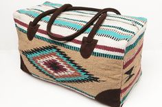 Southwest Western Aztec Style Travel Bag Tote Acrylic Fully Lined Bag Size Long x Wide x 12 Tall strap drop Bags Travel Bags Recycled Blankets, Recycled Fabric, Recycled Crafts, Bag Essentials, Cute Luggage, Saddle Blanket, Western Purses, Aztec Designs, Textiles