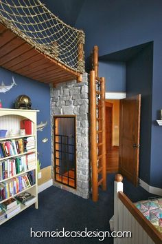 Creative wall use with wooden climbing ladder up to a hanging bridge. Lots of imagination!