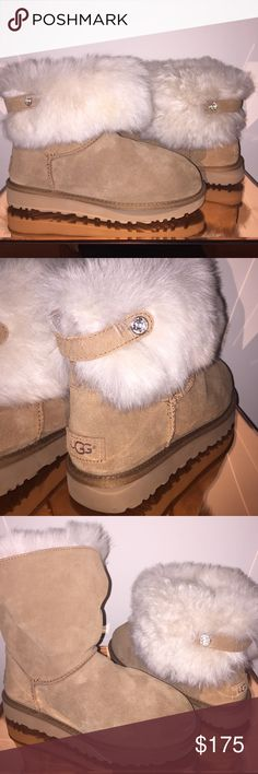 UGG Australia Valentina Crystal Fur Classic Boots A warm, extravagant genuine shearling cuff accented by a crystal-embellished back strap tops a cute boot that will keep your feet warm and cozy through all kinds of weather. Plush UGGpure™ lining and a foam-cushioned footbed add insulation and comfort, and the logo sunbeam treads leave pretty footprints in the snow. UGGpure is a textile made entirely from wool but shaped to feel and wear like genuine shearling.  Size 8. Like new UGG Shoes…