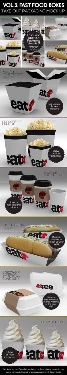 Fast Food Boxes Vol.3:Take Out Packaging Mock Ups — Photoshop PSD #coffee #sleeve • Available here → https://graphicriver.net/item/fast-food-boxes-vol3take-out-packaging-mock-ups/17838720?ref=pxcr