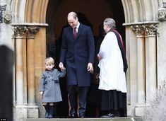 Prince William laughed as he led his three-year-old son out of the Berkshire church ...