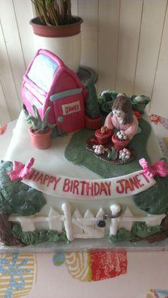 Lady gardening cake