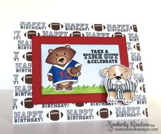 Football Birthday card by Kimberly Rendino | Touchdown Tails stamp set by Newton's Nook Designs #newtonsnook #football