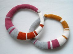 striped knitted okapi necklace by okapiknits on Etsy, $40.00