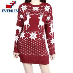 Fensajomon Men Round Neck Long Sleeve Christmas Elk Printed Regular Fit Warm Pullover Sweater Jumper Red S