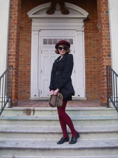 vintage, hat, pea coat, oxfords, outfit, fashion, girl, tights, maroon, leopard print, heart sunglasses