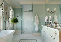 "#bathroom Classic #Blue Bathroom  Paint Color is ""Fantasy Blue 716 by Benjamin Moore""."