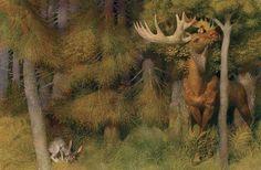 Gennady Spirin ~ Life in the Boreal Forest Russian Painting, Russian Art, Children's Book Illustration, Book Illustrations, Animal Habitats, Fairytale Art, Fantasy Artwork, Surreal Art, Bird Art
