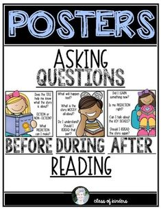 ELA Kindergarten and First Grade Common Core! Asking Questions before, during and after reading. Poster plus a student bookmarks! $