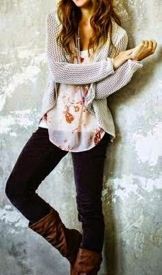 I have the black pants. Love the sweater length/cut/weave. Floral see thru is sexy underneath. I'd love this entire outfit.