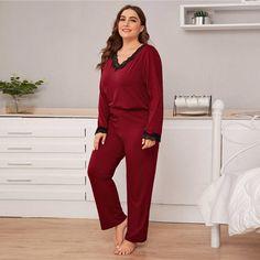 Burgundy Lace Trim Top and Pants Casual Sleepwear Plus Size Pajamas, Long Sleeve Pyjamas, Dresses Kids Girl, Pj Sets, Pajama Set, Navy And Green, Lace Sleeves, Plus Size Outfits, Lace Trim