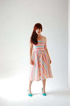 70s Pastel Dress - Little Teacup Vintage