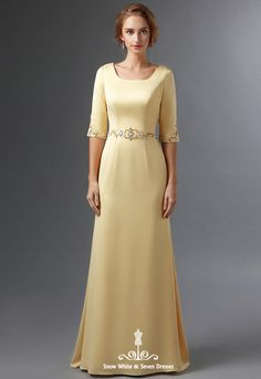 Modest A-line Satin Mother Of The Bride Dresses With Half Sleeves Beaded Crystals Elegant Mother's Formal Evening Wear Real Junior Prom Dresses, Strapless Prom Dresses, Prom Dresses Long With Sleeves, Girls Formal Dresses, Modest Dresses, Satin Dresses, Elegant Dresses, Bride Dresses, Yellow Formal Dress