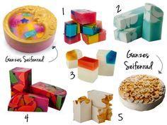 Lush Christmas preview Products 2013: 1. Angels Delight soap 2. Snowglobe soap 3. Noriko soap 4. Mr Punch soap 5. Snowcake soap