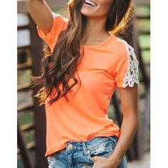 Wholesale Casual Hollow Out Lace Spliced Short Sleeve T-Shirt For Women Only $4.57 Drop Shipping   TrendsGal.com
