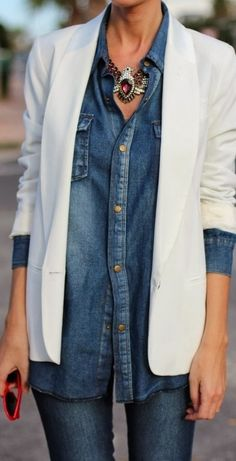 Beautiful Denim Shirt Jean With White Blazer