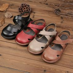 SOCOFY Hollow Out Pure Color Handmade Leather Retro Sandals is comfortable to wear. Shop on NewChic to see other cheap women sandals on sale Mobile. Fall Booties, Flower Shoes, Sandals For Sale, Retro, Types Of Shoes, Leather Sandals, Pure Products, Heels, Handmade Leather
